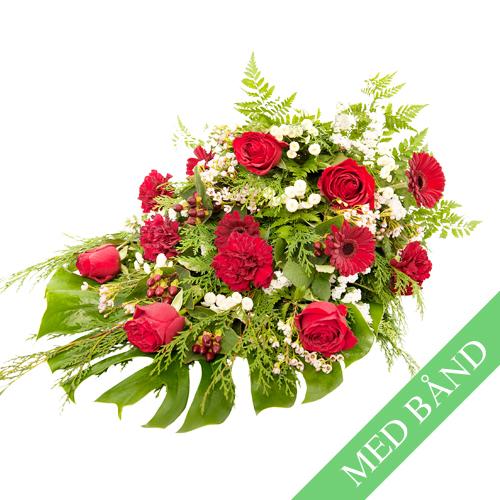 Bårebuket med roser med bånd